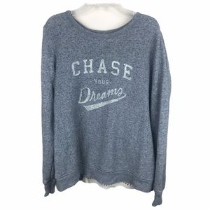 AERIE 'Chase your dreams' Print Gray Lace Pullover